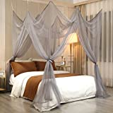 Lotus Karen 8 Corner Bed Canopy Grey Mosquito Net - Unique Style 4 Doors Bed Curtain - 90' W 90' L90 H - Suggested for Twin Full Queen King Bed