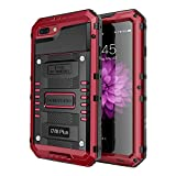 iphone 6 plus bullet proof - iPhone 7 Plus Waterproof Case, Seacosmo Full Body Protective Shell with Built-in Screen Protector Military Grade Rugged Heavy Duty Case Cover for iPhone 8 Plus/iPhone 7 Plus, Red