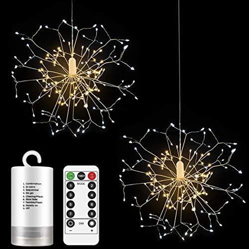 Anpro 2 Stücke Feuerwerk Lichter, 150 LED Feuerwerk Lichterketten, Kupferdraht Starburst Lichter wasserdicht mit Fernbedienung Timing-Funktion, DIY für Partydekoration deko schlafzimmer