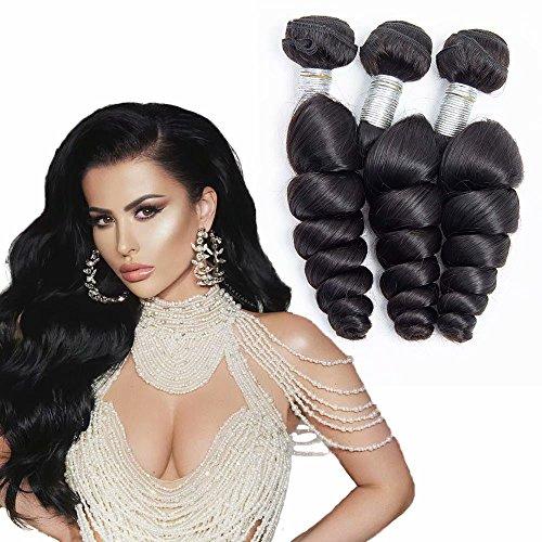 Maxine Bundles 10A Loose Deep Wave 3 Bundles Malaysian Loose Wave Bundles virgin human hair extensions for black women natural color(22 24 26)