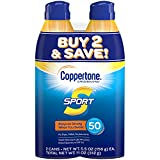Coppertone SPORT Continuous Sunscreen Spray SPF 50, Water Resistant, Broad Spectrum UVA/UVB Protection (5.5 oz per Bottle, Pack of 2)