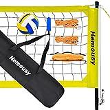 Red de voleibol de playa, 9,5 x 1 m, plegable, juego completo con postes de acero, voleibol y bolsa de transporte, altura ajustable, redes para playa, jardín, yard, piscina, interior y exterior