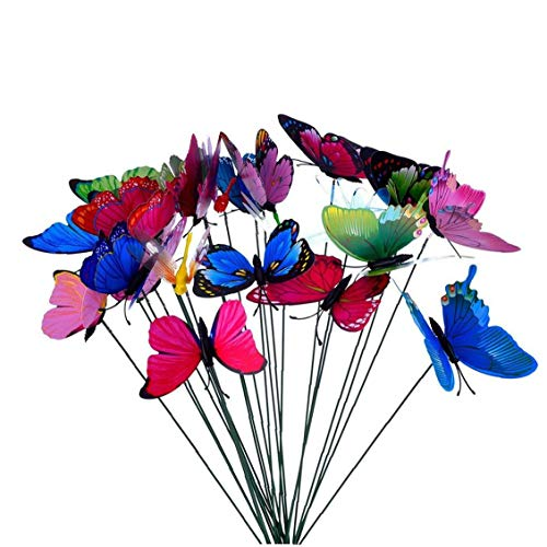 Simulation Butterfly on Stick Colorful Garden Patio Butterfly Decor for Wedding Party 10Pcs Holiday GFT