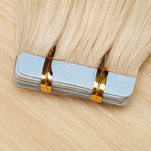 """TESS Tape Extensions Echthaar Weissblond #60 Klebeband Haarteile Tape in Haarverlängerung Remy Human Hair Extensions Glatt 10 Stück 20\""""(50cm)-25g"""
