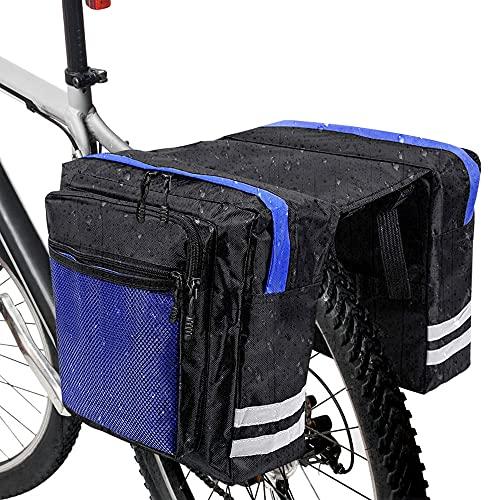 RANJIMA Borsa per Bicicletta,Borse Bici Posteriore Laterali Multifunzionale, Grande capacità Doppia Borsa per Portapacchi,Borsa Bicicletta Impermeabile per Mountain Bike, Bici da Corsa Outdoor (Blu)