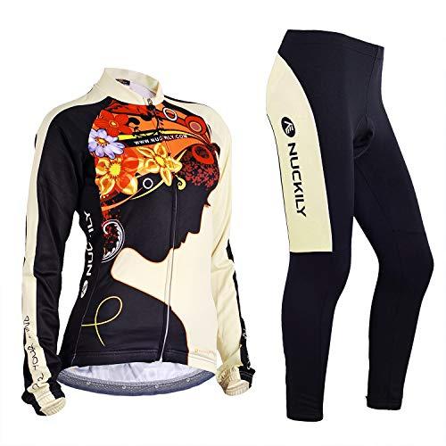 NUCKILY Fahrradbekleidung Set Damen Radtrikot Langarm Winddicht Damen Thermische Fleece mit 3D Polster Hosen