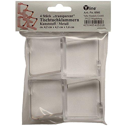 4 Tischtuchklammern transparent mit Metallfedern, Tischtuchhalter Tischtuchclips, Tischtuch- Halter, Klammer, 0501
