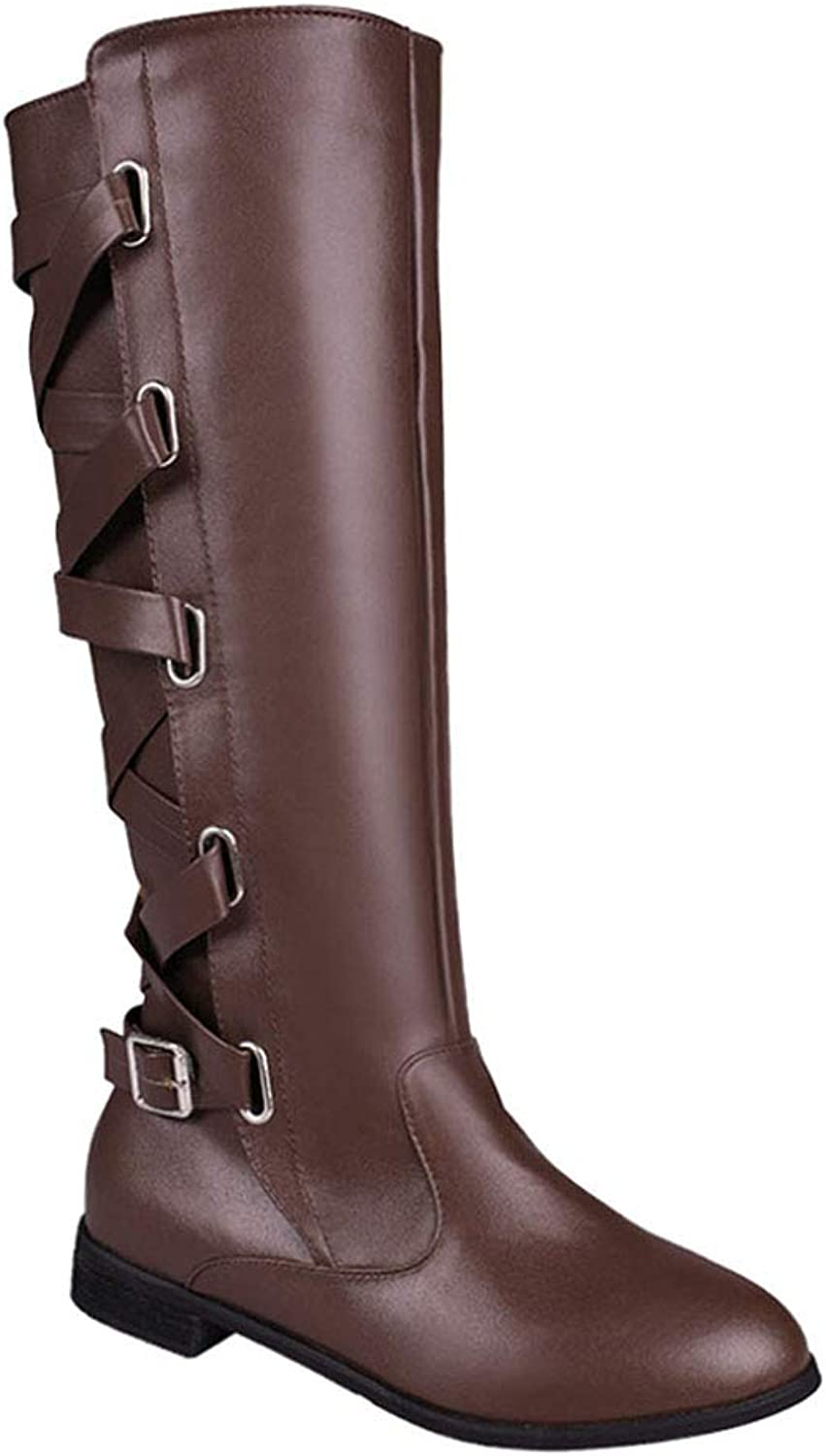 Uirend Long Knee High Boots Riding shoes Women - Ladies Low Block Heel Leather shoes Womens Leg Wide Calf Cowboy Combat Knight Boots Zip Buckle Detail Biker Casual Winter