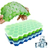 Ice Cube Trays, Lilinera 2 Pack Silicone Ice Cube Molds with Lid Flexible 74-Ice Trays BPA Free, for Whiskey, Cocktail, Stackable Flexible Safe Ice Cube Molds