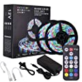 Richsing LED Strip Lights Waterproof Flexible RGB SMD2835 300LEDs with 12V Power Adapter 18Key RF Remote