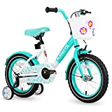 JOYSTAR 18 Inch Kids Bike with Hand Caliper Coaster Brake and Basket for 5 6 7 8 9 Years Girls 18' Youth Cycle Bike with Training Wheels and fenders Green