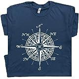 L - Nautical Compass T Shirt Sailing Sailboat Tee Pirate Jolly Roger Flag Symbols Anchor Wheel Vintage Graphic Blue
