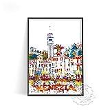 linbindeshoop Cartel de impresión de Acuarela de Ciudad Moderna Venecia Alemania Arte de Pared Las Vegas Estocolmo Budapest Cartel de impresión Sydney Londres Viajes(LT-1530) 40x60cm Sin Marco