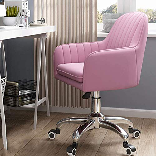 Silla de oficina ajustable ergonómica, silla giratoria de 360° para el hogar, cómoda silla de escritorio sin brazos para sala de estar, dormitorio, recepción, sala de conferencias, color rosa