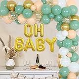 Decoraciones de fiesta verde salvia - Decoraciones de baby shower retro verde oliva DIY Kit de guirnaldas de globos Oh Baby Balloon para niña niño Género neutral Party Supplies Set