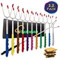Marshmallow Roasting Sticks Extending Roaster Set of 12 Telescoping Smores Skewers & Hot Dog Forks 32 Inch Fire Pit Camping Cookware Campfire Cooking Kids