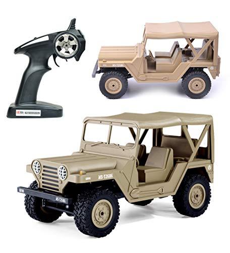 Carrito eléctrico de carreras, mini militar para Jeep todoterreno, juguete de vehículo de roca 1:14 2.4G 4WD 15 km/h, control remoto RTR para adultos y niños, color beige