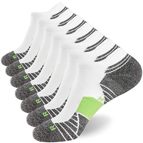 WANDER Men's Athletic Running Socks 7 Pairs Thick Quarter Socks Cushion Ankle Socks for Men Sport Low Cut Socks(7 Pairs White Green,Size:10-12)