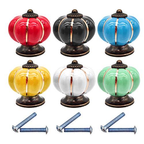 JJYHEHOT Pomelli per Cassetti in Ceramica Color,Design colorato a forma di zucca retrò (6 pezzi)