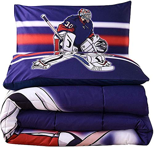 Rvvaceo Double Duvet Cover Set Duvet Cover With Pillow Cases, 3 Piece Bedding Set, Soft Poly-Cotton Quilt Cover, Machine Washable, Easy Care-King (240 X 220 Cm) Modern Creative Sports Ice Hockey