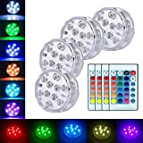 Submersible Led Lights Pond Fountain Lights Battery Operated Waterproof Pool Lighting Products with Remote Decorative Fish Bowl Underwater LED Lights for Aquarium Vase Base Wedding Halloween 4 Pack