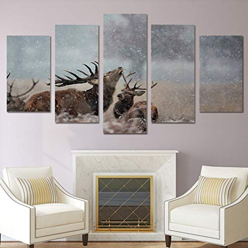 UDPBH 5 Pannelli Art Sailing HD Stampato Jungle Snow Deer Painting Canvas Print Room Decor Print Poster Picture Canvas