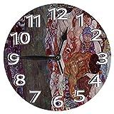 時計 壁掛け時計アナログクロックインテリア円形 静音 グスタフ・クリムトの死と生 印刷 ラットフェイス 家寝室居間 直径30cm 部屋装飾