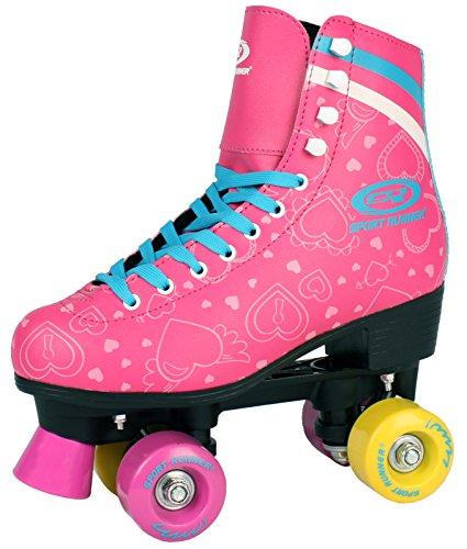 Sell-tex Kinder Rollschuhe 34 35 36 37 38 NEU Discoroller rosa Rollerskates Inliner ABEC-5 (37)