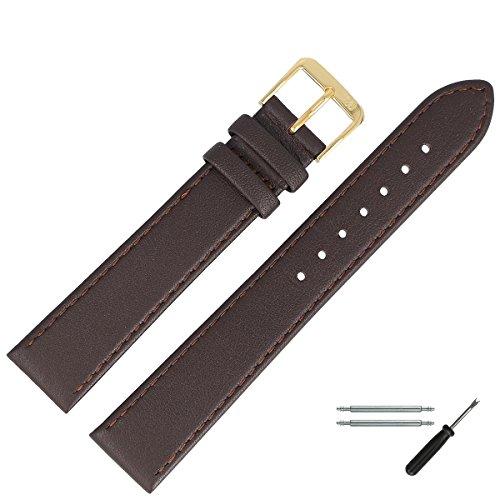 Correa de 22 mm piel de colour marrón, correa de piel genuina fina con escritura Marburger - - Compatible con planos relojes Bombage Marburger - Reloj de Pulsera desde 1945 - oro/marrón oscuro