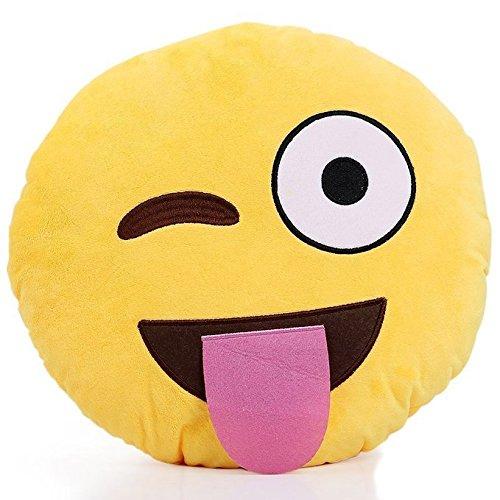 (Stuck Tongue) - Emoji Round Cushion Pillow, by Lynnwang Design ()