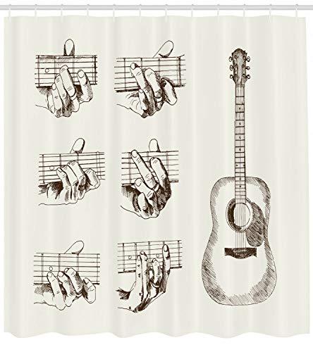 123456789 Gitaar Douchegordijn Schetsakkoorden Flamenco Print voor Badkamer