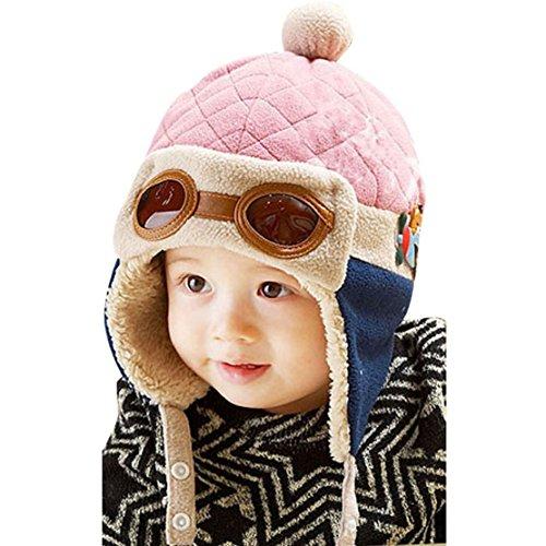 Bluelans® Bonnet d'hiver chaud pour bébé garçon et fille avec cache-oreilles - Rose - circonférence de la tête: 47/52 cm/18\