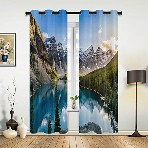 SODIKA Blackout Room Darkening Curtains Window Treatment/Panels/Drapes Drape for Bedroom Living Room - Canada Banff National Park Rocky Mountains Beautiful Landscape 2 Panels 52x72 Inch