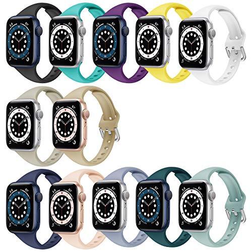YSSNH Compatible con correas de Apple Watch de 38 mm y 40 mm para mujeres, delgada y transpirable, pulsera deportiva de silicona de 42 mm y 44 mm para iWatch Series SE 1 2 3 4 5 6, hombres