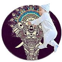 エリアラグ軽量 象の曼荼羅 フロアマットソフトカーペット直径31.5インチホームリビングダイニングルームベッドルーム