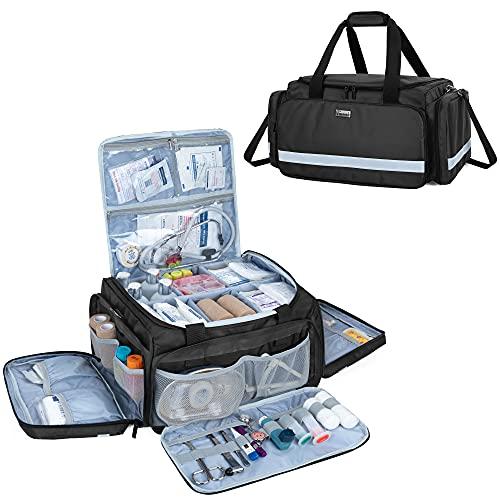 Trunab Notfalltasche Leer Schwarz, Tasche für Krankenschwester Tasche Rettungsdienst Große Kapazität mit Interior Division Board und Rutschfestem Boden, Home Nurse Case