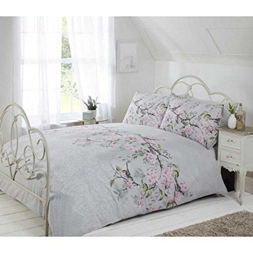Eloise Duvet Cover Set, Polyester-Cotton, Grey, Double