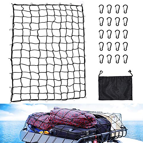 5'x7' Heavy Duty Bungee Cargo Net Truck Bed Nets Stretches to 10'x14' SUV Cargo Net for Rooftop Cargo Carrier with 20 pcs D Clip Carabiners for Pickup Truck SUV Trailer Boat RV