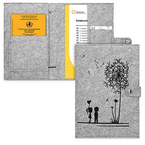 kwmobile Hülle für das deutsche Untersuchungsheft aus Filz - U-Heft Hülle und Impfpass Hülle mit extra Fächern - Cover Pusteblume Love