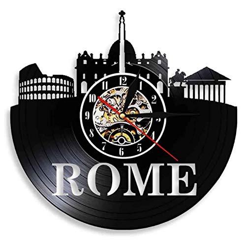 SHENGZHI Reloj de Pared de Diseño, Reloj de Vinilo Colosseum Record, Relojes de Pared Retro, Pizzería, Restaurante, Taberna, Cocina, Vintage, Hecho A Mano, 12 Pulgadas (sin Luces)