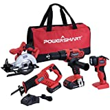 PowerSmart PS76400C 20V Cordless 4-Tool Combo Kit with (2) 1.5Ah Batteries and Charger (PS76400C)