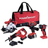 PowerSmart PS76400C 20V Cordless 4-Tool Combo Kit with (2) 1.5Ah...