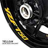 LINGYANMM Etiqueta engomada de la Rueda de la Motocicleta Etiqueta engomada Reflectante Rim Neumático Accounton calcomanías Ornamentales para Yamaha YZF750 (Color : Yellow)