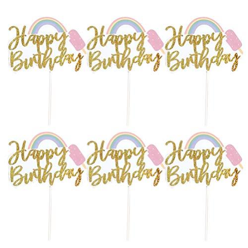 Hemoton 6St Happy Birthday Cake Topper Verjaardagsfeestje Decoraties Cake Picks Voor Zomer Verjaardagsfeestje