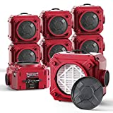 AlorAir CleanShield HEPA 550 - Heavy Duty Commercial Air Scrubber HEPA Filter System, 25' Power Cord with Lighted End and Roto-Molded Unbreakable Housing Air Cleaner, cETL Listed, Red (Pack of 8)