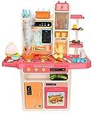 ISO TRADE XXL Spielküche Kinderküche Zubehör Funktion Wasserhahn Kaltdampf 65 Elemente 9571, Farbe:Rosa