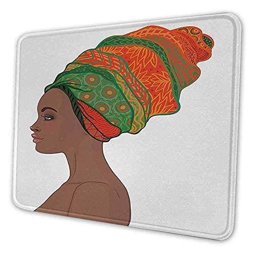 Afrikanische Frau Mauspad Muster Afro weibliche junge Schönheit traditionelles Haar Kleid Turban verzierte Mauspad für Frauen scharlachrote grüne Schokolade, Es