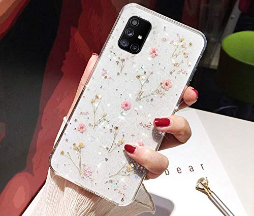 Kompatibel mit Samsung Galaxy A51 Hülle,Handyhülle Galaxy A51 Hülle Getrocknete Blumen Glänzend Bling Glitzer Superdünn TPU Silikon Hülle Schutzhülle Crystal Clear Bumper Rückschale Hülle Cover