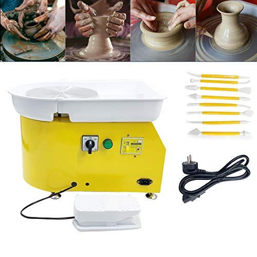 TABODD 350W Elektrische Töpferscheibe Keramikmaschine 25cm Keramik Radmaschine 220V Keramikrad-Maschine Keramikformmaschine Radmaschine DIY mit verstellbaren Füßen, Gelb
