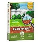 Plantura Rasen-Nachsaat, 1 kg, schnellkeimend mit Mantelsaat, Rasen ausbessern & nachsäen, Premium-Saatgut